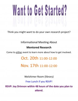 Undergraduate Research Informational Meeting @ Welshimer Room