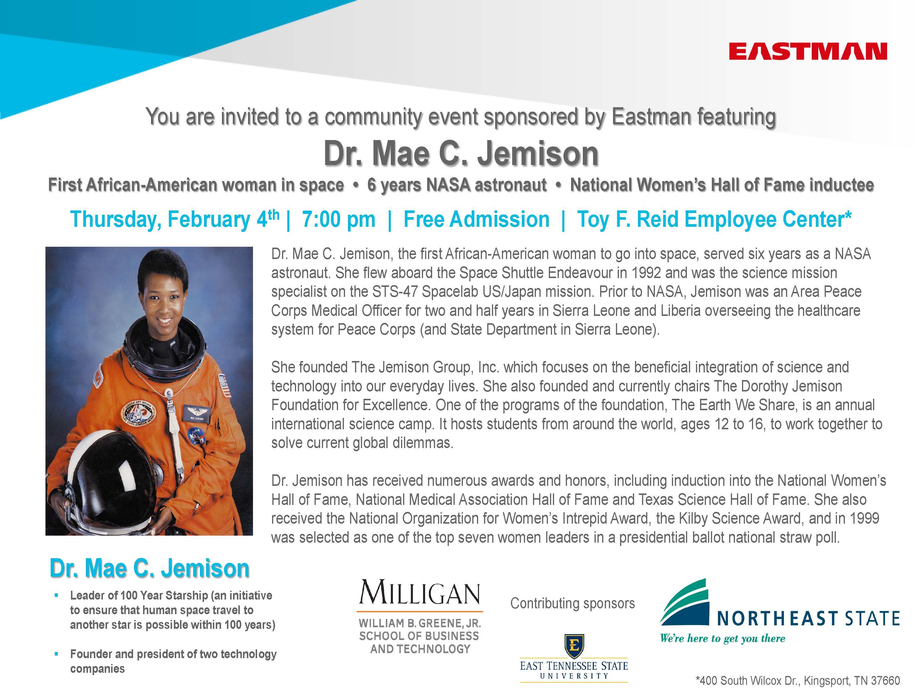 Milligan College   Speaker Dr. Mae C. Jemison