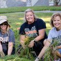 Several ladies from Milligan's Office of Institutional Advancement worked to pull weeds. L-R: Rhajon Smith, director of development, Jessica