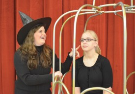 "Emily May of Elizabethton, Tenn., and Caitlin Brock of Jonesborough, Tenn., rehearse for Milligan College's upcoming performances of ""Hansel and Gretel."""