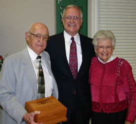 Dennis and Cookie Helsabeck with Milligan's 14th President Dr. Don Jeanes