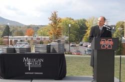 Milligan College President Dr. Bill Greer delivers remarks at the Milligan Village Dedication Friday.