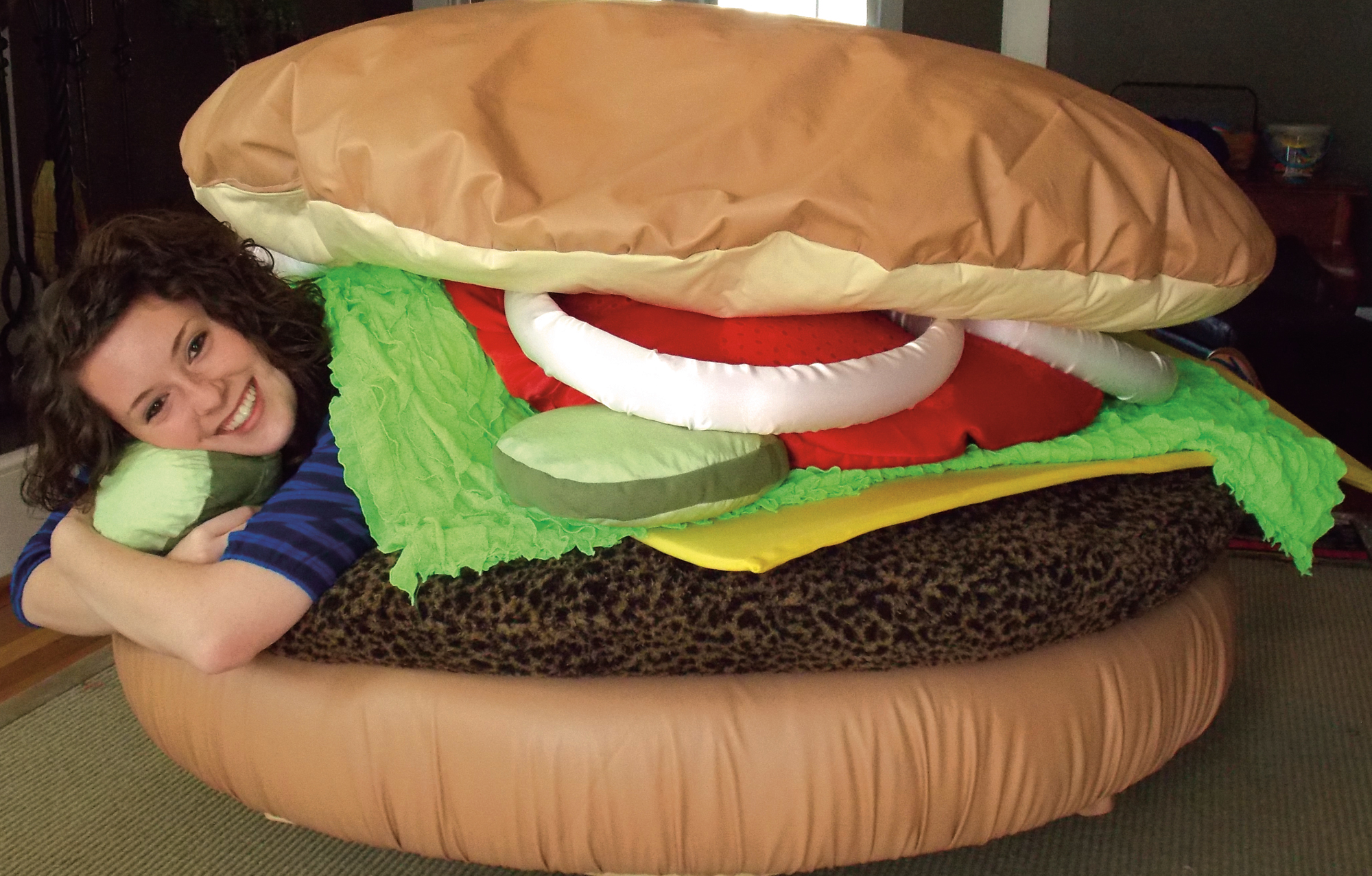 """At last year's OT Expo, Molly Wilson designed """"The Comfy Cheeseburger"""" for children who have sensory needs. Her project was donated to Duke University's Lenox Baker Children's Hospital."""
