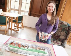 """Photo by Brandon Hicks / Kaylynn Blosser made a detailed cake paying tribute to the pilgrims in """"The Canterbury Tales,"""" featuring details like the Yeoman's bow and quiver."""